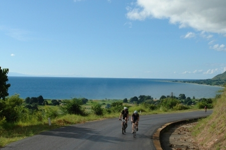 riders cycling away from Lake Malawi, 2005