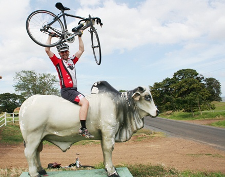 Blood of the bull.  Our bike mechanic, Luke Greasyfingers el McMurphy, tames Nicaragua one bull at a time.
