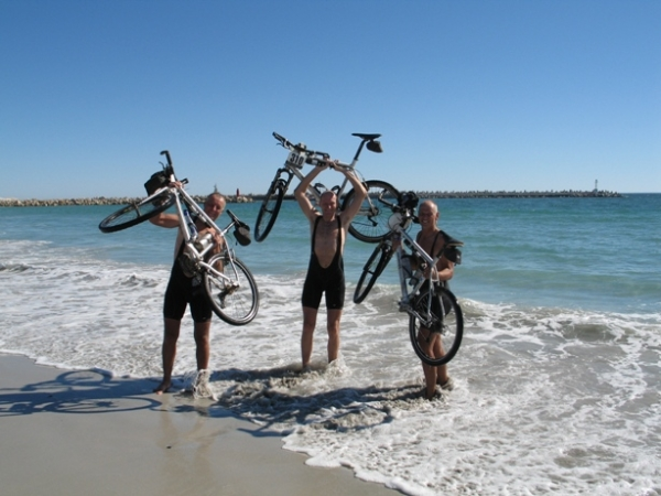 TDA riders celebrate the finish in Cape Town - South Africa