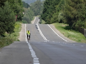 Chin after his extra 60km riding his last uphill before camp