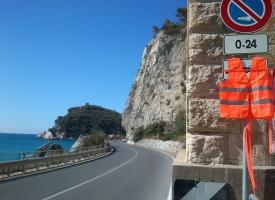 Italy - Lunch stop sign on the coast