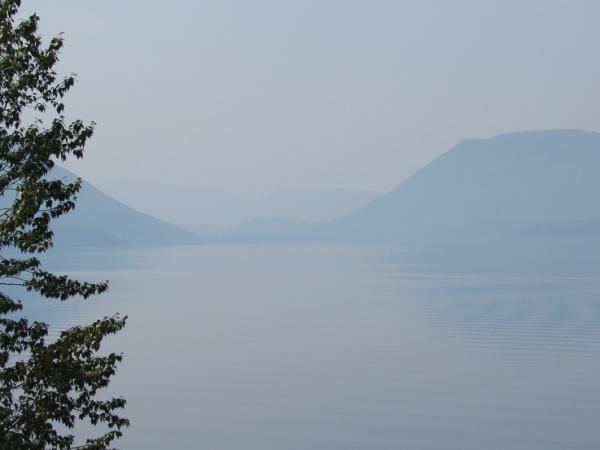 lake macdonald & haze smoke from fires 1