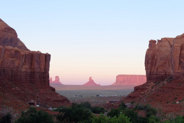The view of Monument Valley from camp at dusk.