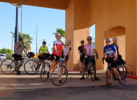A group of rider depart the hotel in Yuma, ready to enter Mexico