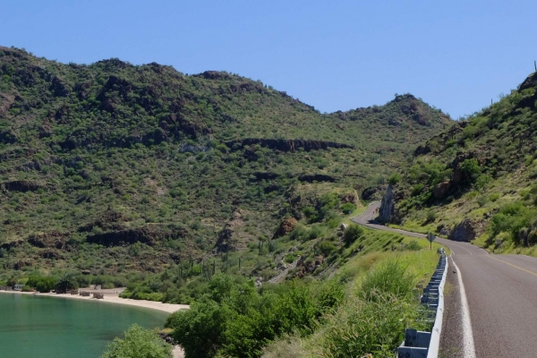 Beaches below, whilst the road climbs above