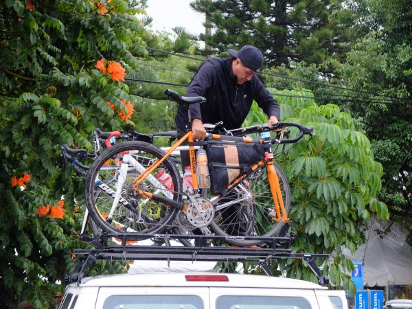 Bikes are loaded to the van for the transit away from Hurricane Patricia