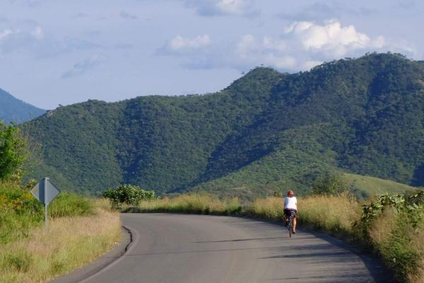 Francine riding solo through Jalisco farmlands
