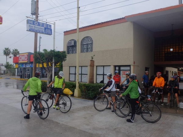 Riders depart the hotel in a rainy La Paz for the ferry to Mazatlan