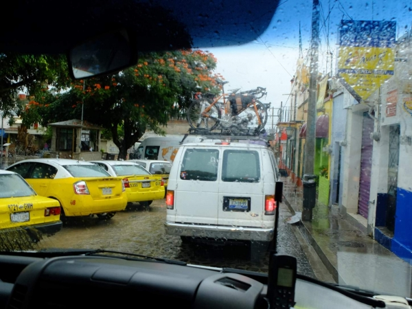 The convoy leaves the wet and ominous weather of Ajijic