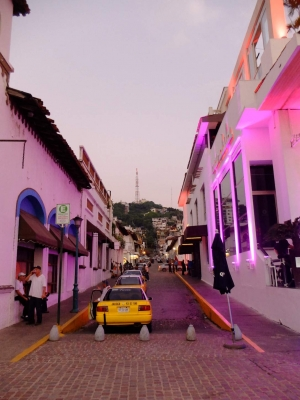 The lively streets of Puerto Vallarta at dusk