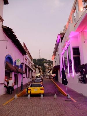 The lively streets of Puerto Vallarta at dusk