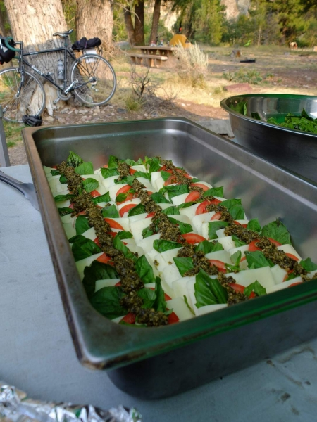 Tomato, Basil, and Mozarella salal looking very delicious.