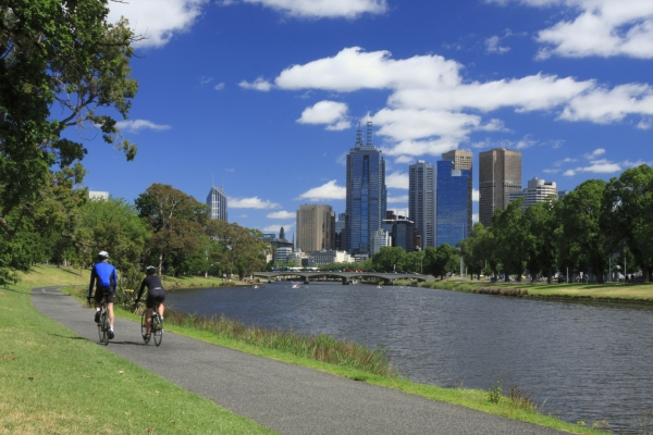 cycling along Yarra River Melbourne