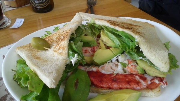 king crab and avocado sandwich