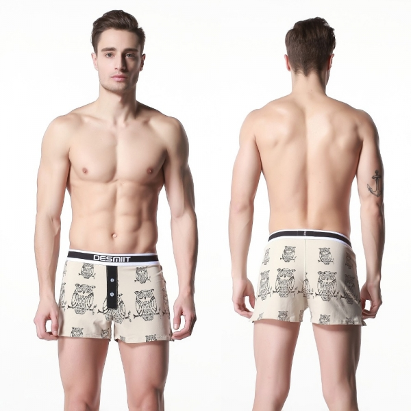 Men-s-Home-Boxer-Cotton-shorts-Male-Soft-Lounge-Night-owl-Underwear-M-L-XL-XXL