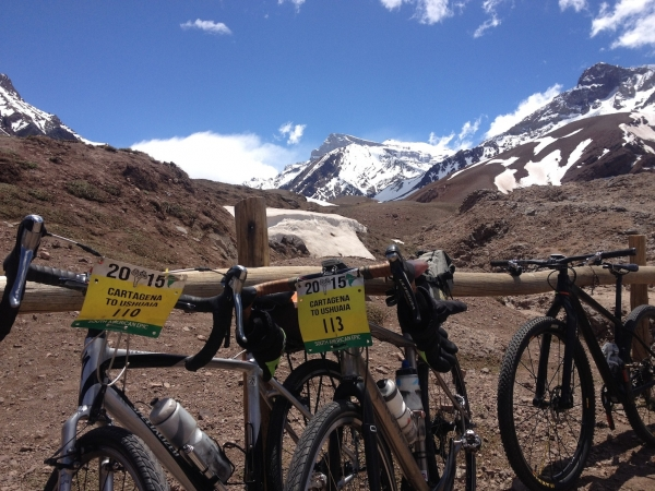 More bike with Aconcagua mountain in the back