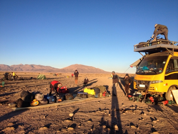 Packing up meteor camp before heading to the Coquenza
