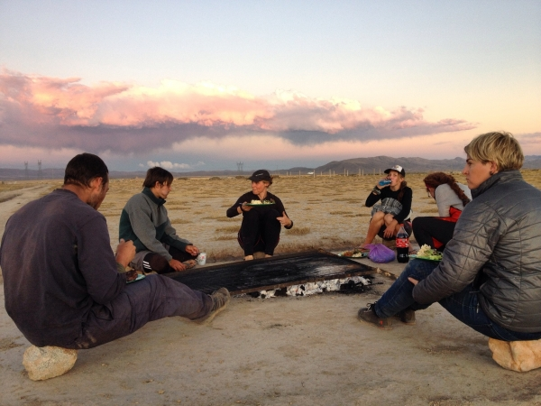 Staff meeting by the grill