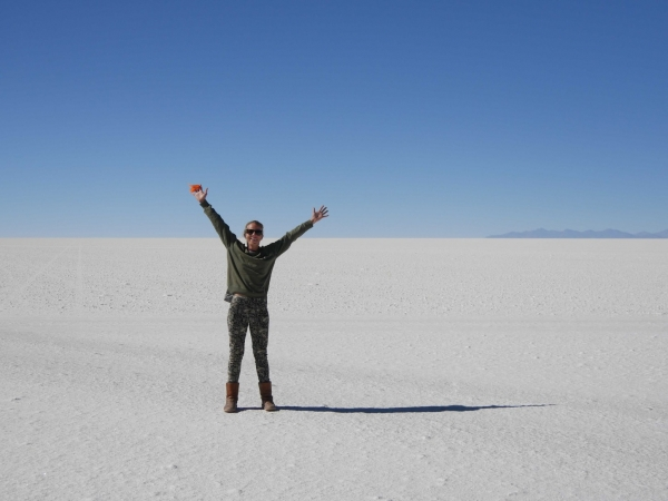 Emily enjoying the Uyuni Salt Flats