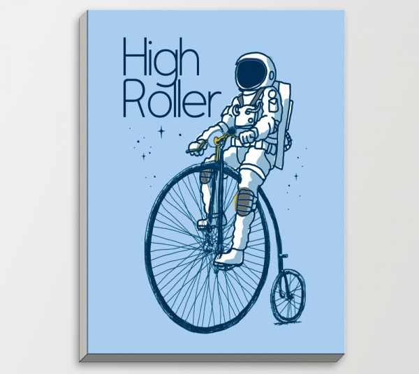 Drawing-Spaceman-Astronaut-Bicycle-Bike-Blue-Modern-Cartoon-Pop-Hippie-Bedroom-Wall-Art-Decor-Gifts-Wood